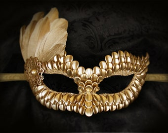 Gold Masquerade Mask With Dragon Scales & Feathers -  Metallic Gold Venetian Mask -Gold Feather Mardi Gras Mask