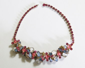 1940s Opaque Glass Pink & Blue Rhinestone Gold Tone Choker Necklace