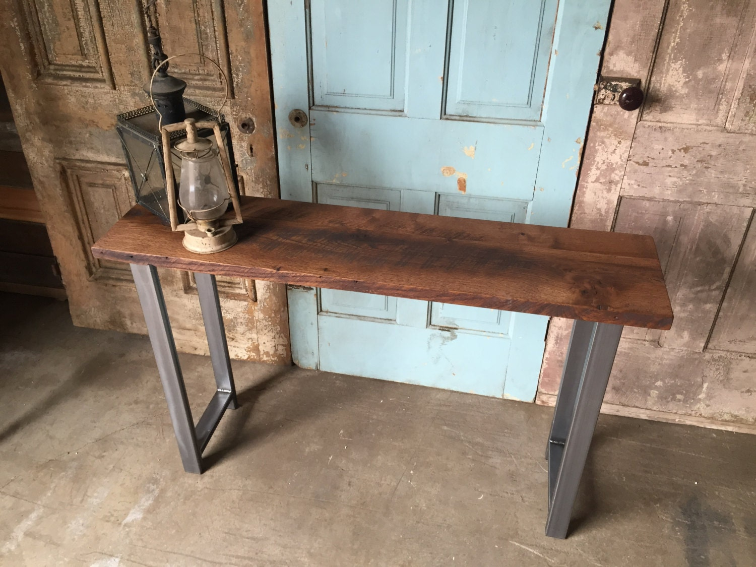 Reclaimed wood industrial console table h shaped metal legs zoom geotapseo Gallery