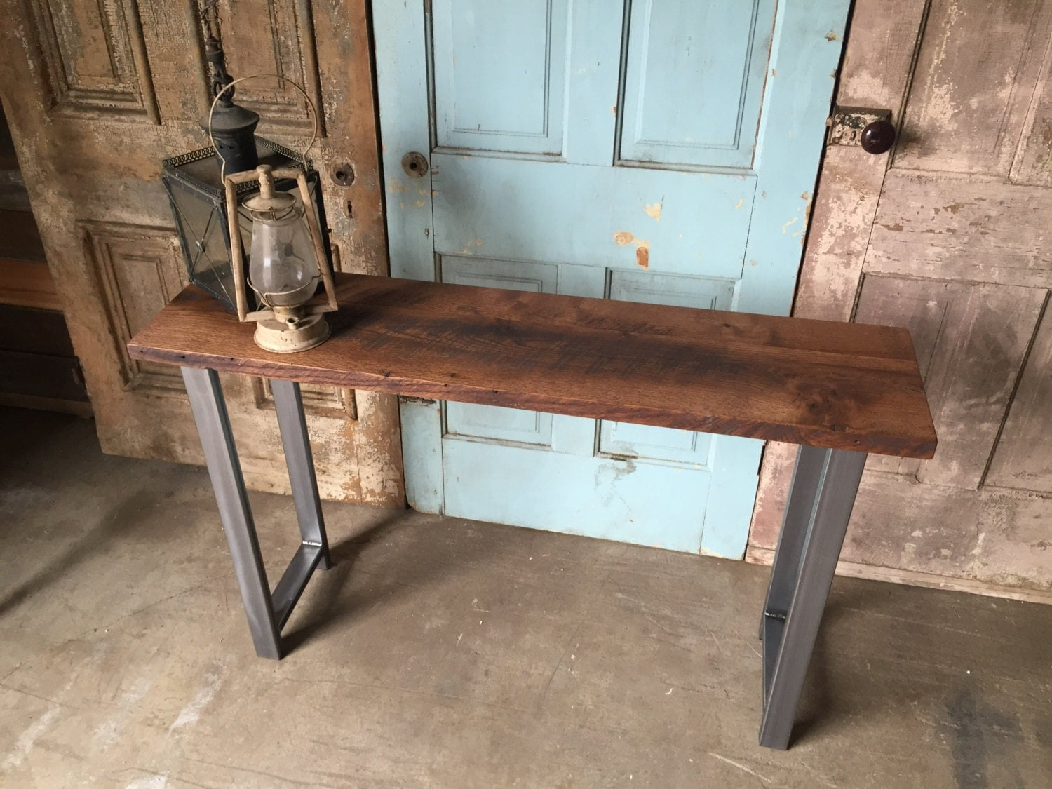 Reclaimed Wood Industrial Console Table   H Shaped Metal Legs  zoom. Reclaimed Wood Industrial Console Table   H Shaped Metal Legs