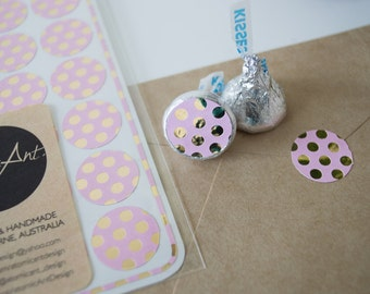 24 Pink and Gold Foil Polka Dot Stickers - Handmade Envelope Seals - Wedding invitations & favours - Cupcake Toppers - Hershey Kiss