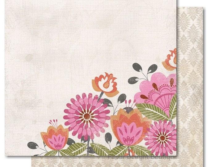 "2 Sheets of My Mind's Eye INDIE CHIC Saffron ""Girl"" 12x12 Scrapbook Paper - Primrose"