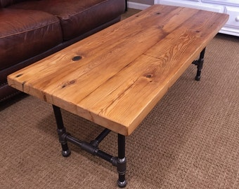 Reclaimed Wood Coffee Table, Media Stand, Industrial Pipe Legs, Salvaged Great Lakes Barn Wood, FREE SHIPPING