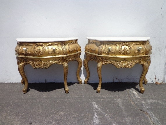 2 antique italian baroque console french provincial bombe. Black Bedroom Furniture Sets. Home Design Ideas
