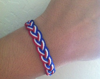Red white and blue braided bracelet. USA bracelet. USA friendship bracelet . String bracelet