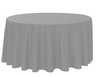 YourChairCovers - 120 Inch Round Polyester Tablecloth Gray | Wedding Tablecloth