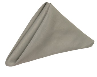 Gray Napkin for Weddings Pack of 10 | Wholesale Polyester Cloth Napkins