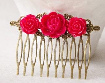 Rose Red Hair Clip / Red Roses Hair Piece  / Scarlet Flower Hair Clip / Wedding Hair Comb / Woodland Fascinator / Wedding Hair Piece