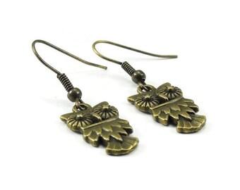 Owl Earrings Bronze Brass Jewelry