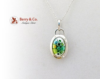 Art Glass Pendant Necklace Sterling Silver