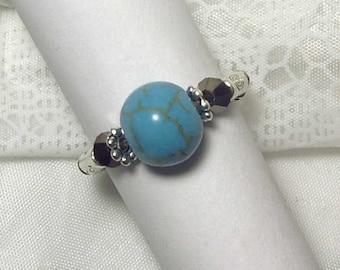 "Cynthia Lynn ""ARUBA"" Silver Plated Blue Green Turquoise Howlite & Brown Crystal Stretch Ring"