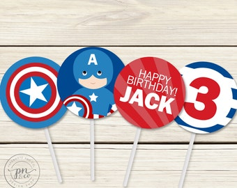 Captain America Toppers // Superhero Toppers // Toppers // Captain America Theme // DIY Printables