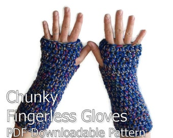 Ladies Chunky Crochet Fingerless Gloves Armwarmers Pattern PDF Download
