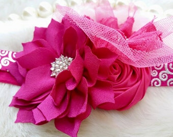 Fuchsia Headband/Flower Girl Headband/Baby Headband/Infant Headband/Newborn Headband/Toddler Headband/Girls Headband/Girls Headband