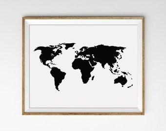Black and White World Map Art Print. Minimalist Wall Art. Travel Print. Map Art. Modern Home Decor. Office Art.
