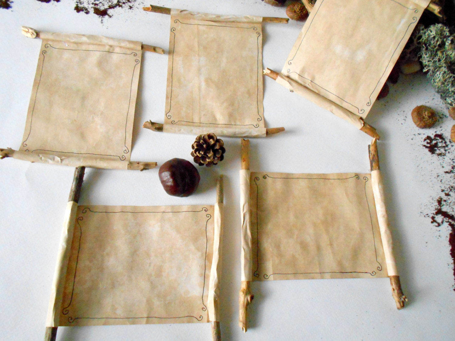 Wedding Invitations Recycled Paper: Rustic Wedding Invitations 50 Paper Scrolls With Coffee