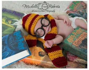 Harry Potter inspired photo prop set glasses included Gryffindor House Colors