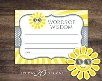 Instant Download You Are My Sunshine Advice Cards, Gender Neutral Sun Words of Wisdom, Grey Yellow Sun Advice for Mom To Be Shower Game 72B