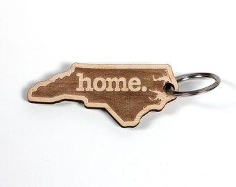 North Carolina Key Charm by Home State Apparel: Laser Engraved Wood Keychain, NC