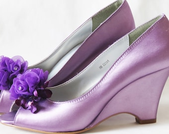 ALICIA Collection - WeDDING WEDGES -Purple Liac - Organza Liac Flowers with Crystal Centers