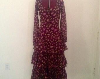 Vintage Gypsy Dress Boho Full Skirt
