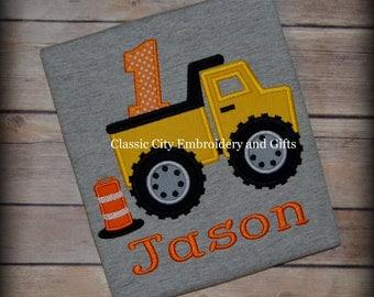 Dump truck construction applique birthday shirt, construction birthday, first birthday, second birthday, third birthday, fourth birthday