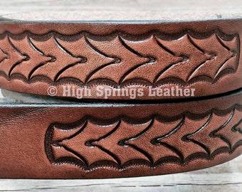 Kids tooled leather name belt