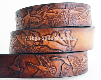 Duck Hunting Leather Name Belt