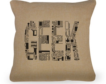 "Geek Typography Circuit Board Font Pillow Cover- 18"" x 18"" - Zipper Enclosure - Machine Washable -Great Gift for Geeks and Nerds"