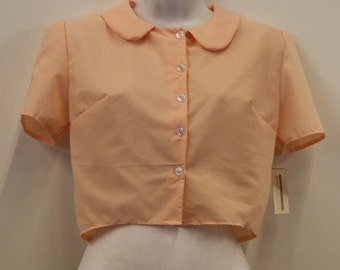 Collar Full Peter Pan Collar Shirt in Peach