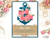 Nautical Bridal Shower Baby Shower  Anchor Invitation - Navy Blue, Salmon Pink and Gold  - by Sparklefly Paperie