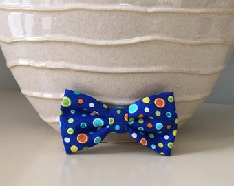 Dog Bow / Bow Tie - Bright Blue w Colorful Polka Dots