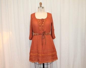 Rust cotton dress Folk women Clothes Summer fashion Country girl Bohemian top Eco Wear Boho Summer Hippie Tunic dress Cowgirl chic L- XL