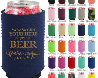 Personalized Neoprene Can Coolers (1283) Grab a Beer - Beer Can Coolers - Can Cooler - Custom Wedding Favors