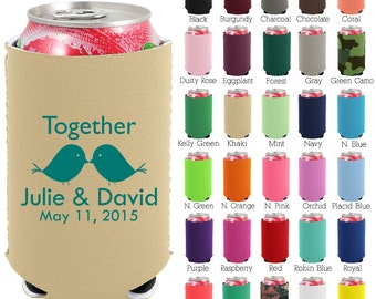 Custom Neoprene Can Cooler (1581) Love Birds - Beer Can Coolers - Personalized Can Coolers - Wedding Favors