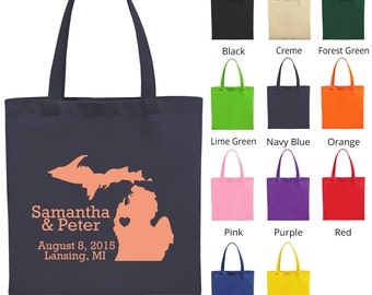 Personalized Tote Bags (C1004) State of Michigan - Wedding Favors - Custom Tote Bags - Wedding Bags - Personalized Bags