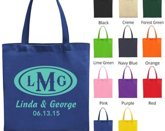 Custom Wedding Bags (C1372) Monogram - Wedding Favors - Personalized Bags - Custom Tote Bags - Wedding Tote Bags