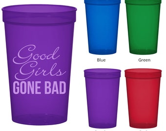 22 oz Bachelorette Translucent Cups (Clipart 6030) Good Girls Gone Bad - Bachelorette Favors - Bachelor Party Cups - Party Favor Cups