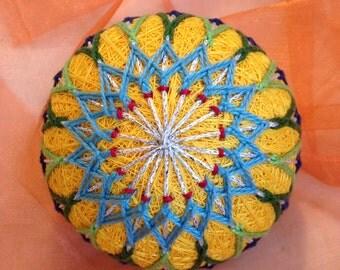 Golden yellow sunflower temari ball