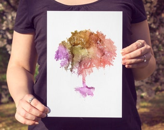Tree WATERCOLOR PRINT, Watercolor Tree, Nature art print, red pink orange wall art decor, decor housewares, colorful tree watercolor art