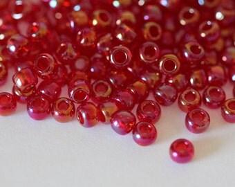 TOHO Seed Bead 6/0 ~Trans-Rainbow Ruby ~ 8 Grams (TR-06-165C) D-3