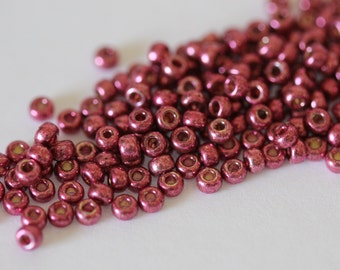 8/0 Duracoat Galvanized Magenta  #4219, Miyuki Seed Beads 16 grams (N-2F)