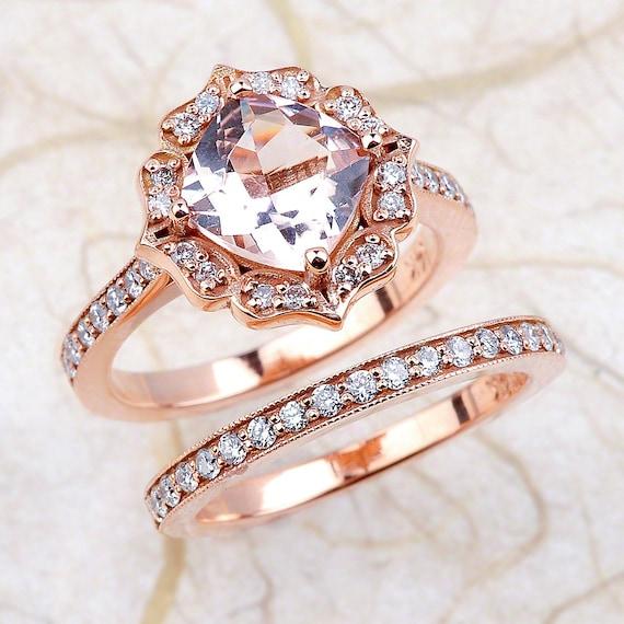 Vintage Floral Morganite Engagement Ring Diamond Wedding Band Bridal Set in 14k Rose Gold