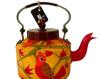 Birds on a branch-hand-painted teapot / kettle from India