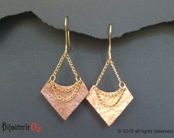 Geometric earrings Copper and Brass chain earrings, dangle earrings, mixed metal earrings handmade by BijouterieOz