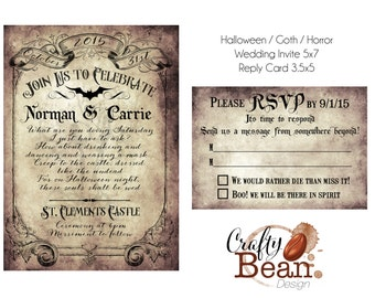 Custom Vintage Victorian/Halloween/Goth Wedding Invitation & Reply Card - Printable DIY