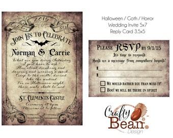 Custom Vintage Victorian/Halloween/Goth Wedding Invitation & Reply Card - Printable DIY