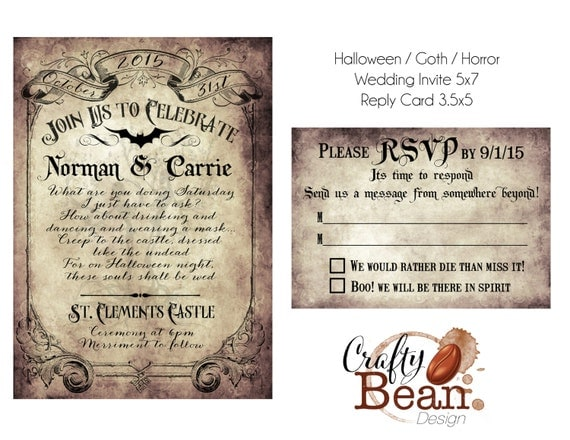 Halloween Wedding Invitation: Custom Vintage Victorian/Halloween/Goth Wedding Invitation