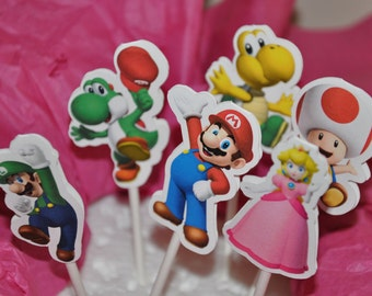 Super Mario Cupcake Toppers Set of 12