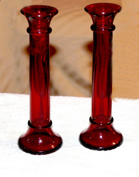 Vintage pair of cranberry red glass candle by queenieseclectic for Tall candle vases